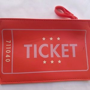 """Ipsy """"Ticket"""" red makeup change pouch"""